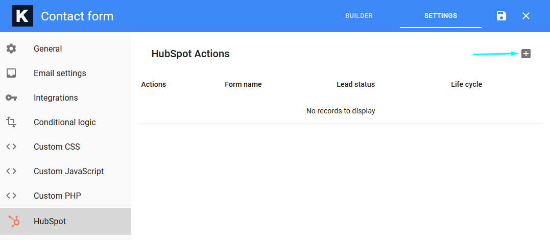 HubSpot Add Action