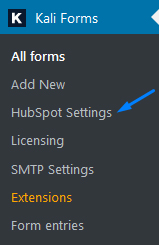 HubSpot Settings Menu