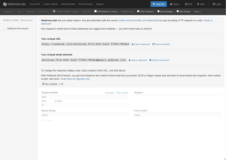 Webhook site copy unique URL