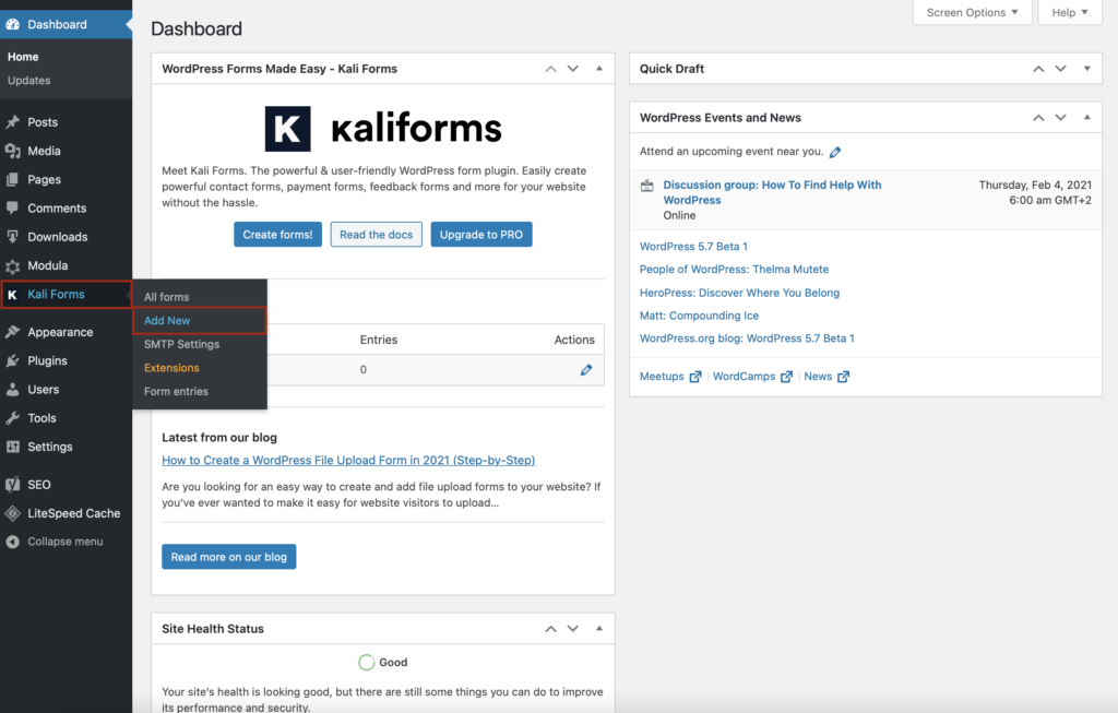 add new form to your website with Kali Forms
