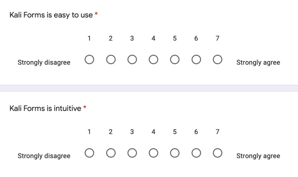 Kali Forms customer survey