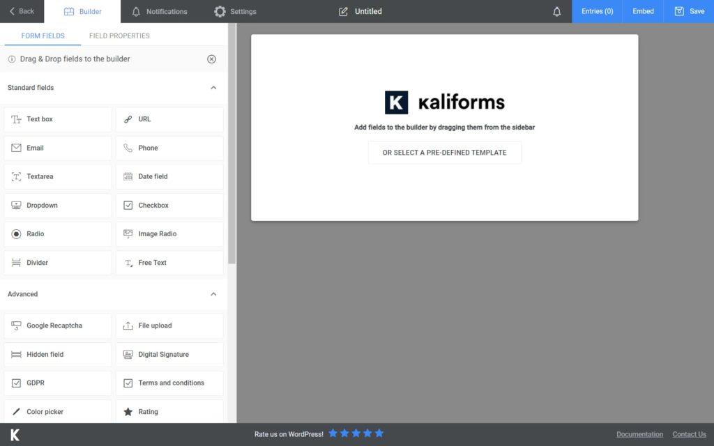 Kali Forms interface